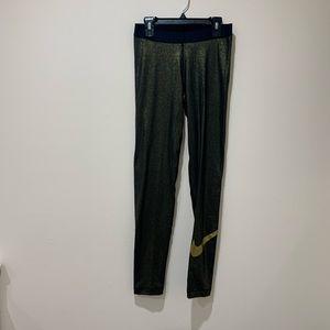 Nike Black & Gold Shimmery Leggings Size M
